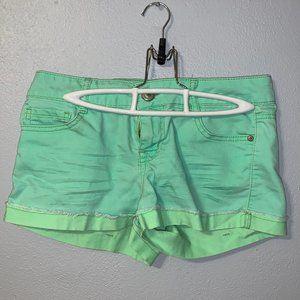 Bright green low rise lei denim shorts